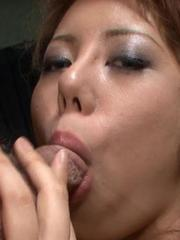 Rui Shiina Asian has cum pouring from mouth after fine blowjob