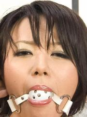 Haruka Uchiyama Asian gets finger in asshole and ball in mouth