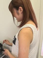 Yumi Maeda Asian doll gets cum in mouth after cooking breakfast