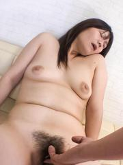 Akiko Miyake Asian has hairy pussy aroused with vibrator a lot