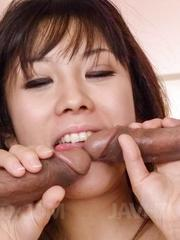Hina Tokisaka has tits oiled mouth fucked and cunt fingered