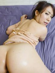 Sakura Ooba Asian reveals round cans while is fucked in dark cunt