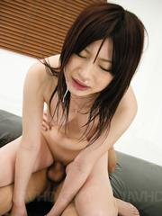 Riko Oshima gets sticky and slippery milking two thick dicks