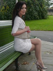 Gorgeous babe Faye Taylor invites you to join her in the park to admire her silky