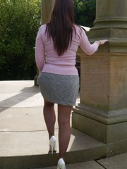 Gorgeous busty Sara visits a monument and invites you to watch her in her lovely