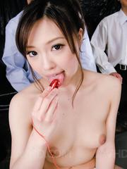 Aiko Hirose Asian fondles cans with saliva she gets from blowjob