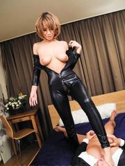 Sumire Matsu Asian takes latex outfit off to get cock she sucked