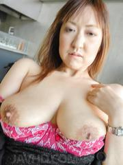 Mayumi Asian exposes dark fucked twat and gets cum on nasty cans