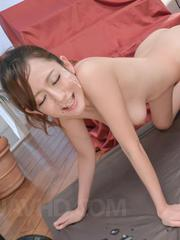 Reon Otowa Asian gets cum on face and vibrators on and in pussy