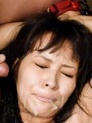 Kyouko Maki Asian busty is aroused like hell and gets cum on face