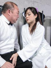 Mizuki Ogawa Asian sucks penis so well that cum pours from mouth