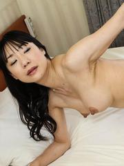 Miho Wakabayashi rides boner with her cunt from which cum pours