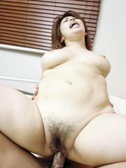 Yukari Asian with big assets sucks dick and rides it on and on