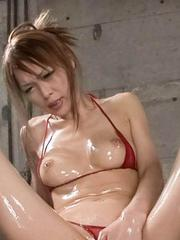 Rina Asian with oiled body in lingerie rubs clit and sucks dongs