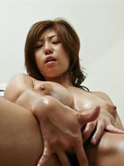 Naho Hadsuki Asian takes clothes off to plays with her big boobs
