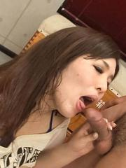 Yume Sazanami Asian gets cum on huge hooters after sucking dick