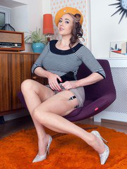 Sapphire in premium French RHT nylons and adorable lingerie poses provocatively on