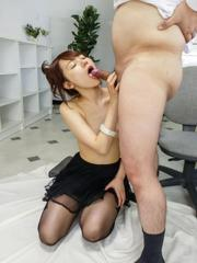 Yui Uehara takes lace blouse off while sucking two hard penises