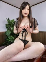 Rie Tachikawa Asian exposes her huge jugs and licks two woodies