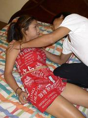 Filipina girl getting her shaved pussy deeply banged before swallowing the load