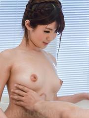 Maya Kawamura sucks cock and puts man foot on her tits in massage