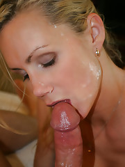 NaughtyAllie jerks a bucket load of cum out of hubbys cock a...