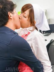 Chihiro Akino Asian sucks cock and is fucked in crack on desk
