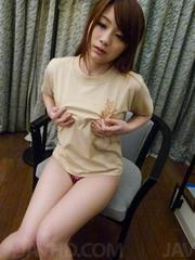 Mayuka Akimoto Asian fondles her cans and is fingered in twat