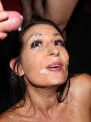 Sexy British girl Sophie Garcia gets a face full of cum in her first ever bukkake