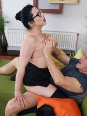 Hairy housewife playing with her lover