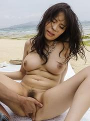 Kyouko Maki is recorded sucking and riding boners on the beach