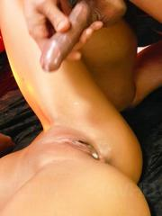 Kyoko Asian with oiled body gets fingers and tools in wet crack