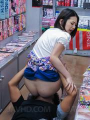 Ran Minami has pussy pouring cum on store floor after is fucked