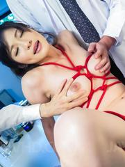 Sara Yurikawa gets boobs in ropes and finger in hairy red pussy
