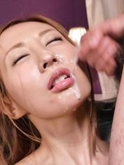 Erena Aihara Asian is fucked with dildo and gets cum on mouth