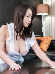 Kaede Niiyama busty in apron has cunt licked in 69 and fucked