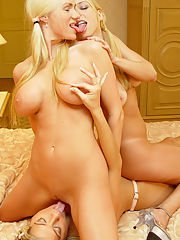 NaughtyAllie and her two busty blonde friends get hardcore i...