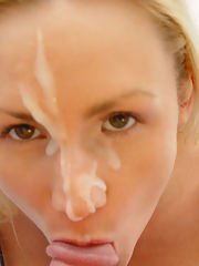 Wife takes massive cum load on her face eagerly after happil...