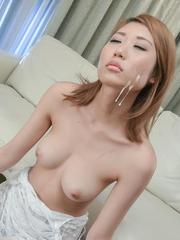 Kanako Kimura with hot tits gets cum on face after sucking tool