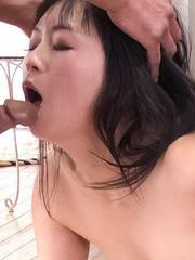 Nozomi Hatsuki Asian in red lingerie is fingered by two fellows