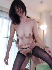 Saki Aoyama Asian gets fingers and dong betweeen legs in fishnets