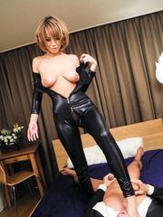 Sumire Matsu Asian has slit licked through latex and rides tool