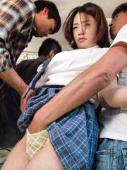Yuna Satsuki Asian is touched all over and sucks tools in the bus