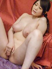 Rie Tachikawa Asian with huge cans gets cum on lips from woodies