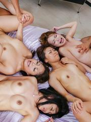 Aoi Miyama Asian and chicks suck and ride boners in crazy orgy