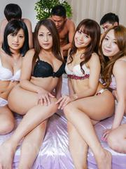 Aoi Miyama and gals suck dongs and are screwed in licked pussies