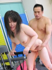 Seira Rando Asian is fucked with dick and vibrator by gym trainer