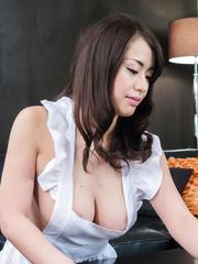 Kaede Niiyama has big boobs touched and crack fucked after diner