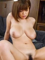 Airu Oshima Asian with huge bust has hairy twat fucked so much