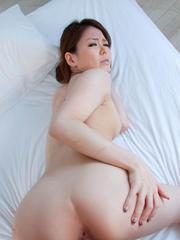 China Mimura Asian rubs dick of her cans before is doggy nailed